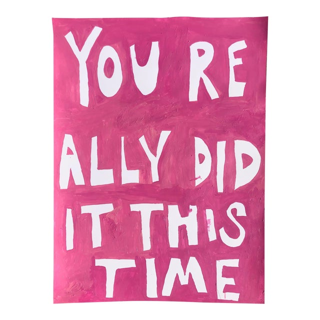 You Really Did It This Time Pink Painting by Virginia Chamlee For Sale
