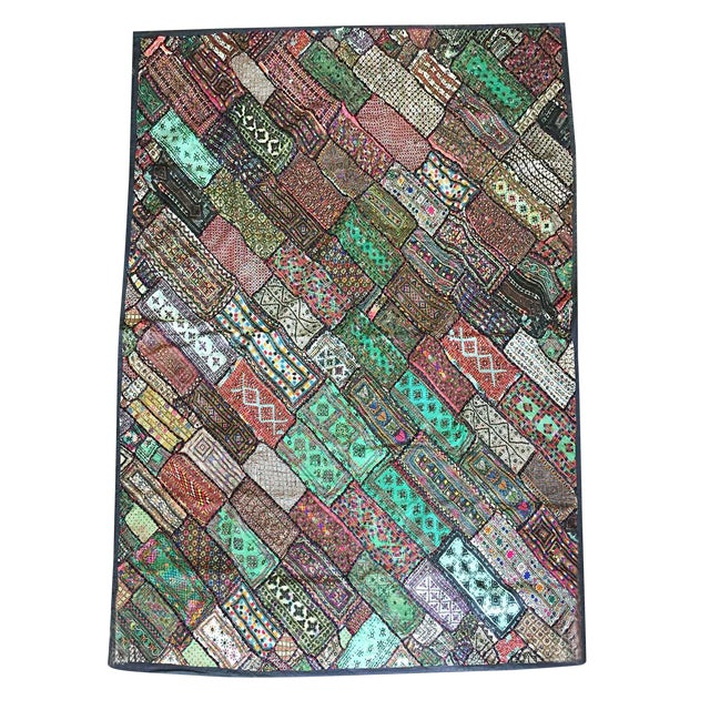 Antique Green Original Kutch Tapestry Hand Crafted Rug Wall Hanging Decor For Sale