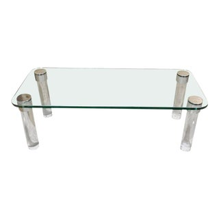 Lucite and Chrome Glass Top Coffee Table, by Pace