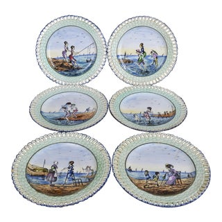 Turn of the Century Coastal French Transferware Plates-- Set of 6 For Sale