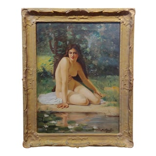 Ray Crowder 19th C. Nude Nynph by a Pond of White Lotus -Oil Painting For Sale