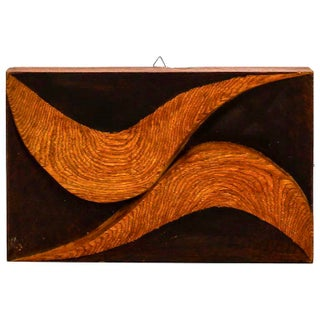 Double Swirl Carved Wood Plaque by Flaviano Laghi