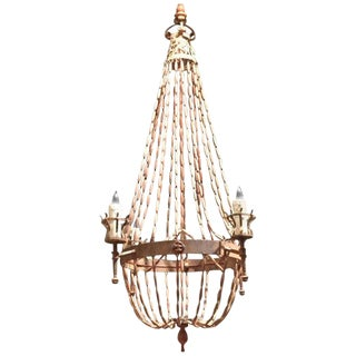 Italian Wooden Beaded Four Light Chandelier For Sale