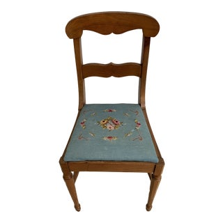 Early 20th Century Antique Wood and Needlepoint Chair For Sale