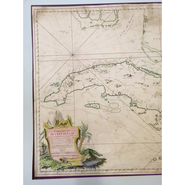 1762 Depot Des Cartes Carte Reduite De l'Isle De Cube Map of Cuba Hydrographical For Sale - Image 10 of 13