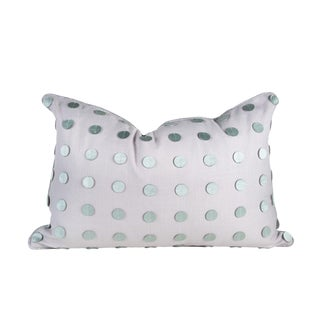 Transitional Lavender Lilac Linen Pillow With Gray Leather Circles - 16 X 24 For Sale