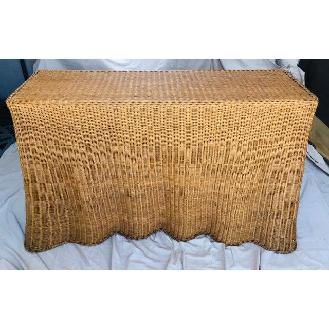 "Mid-Century Modern Trompe l'Oeil ""Drape"" Wicker Ghost Console Table For Sale - Image 3 of 11"