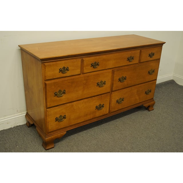 "Statton Furniture Statton Trutype Americana Solid Maple Colonial Style 56"" Double Dresser For Sale - Image 4 of 13"