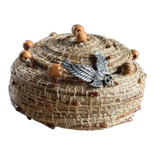 Handmade Pine Needle Basket, Vintage For Sale