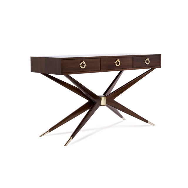 Mid-Century Modern Mahogany Sputnik Console Table For Sale - Image 3 of 10