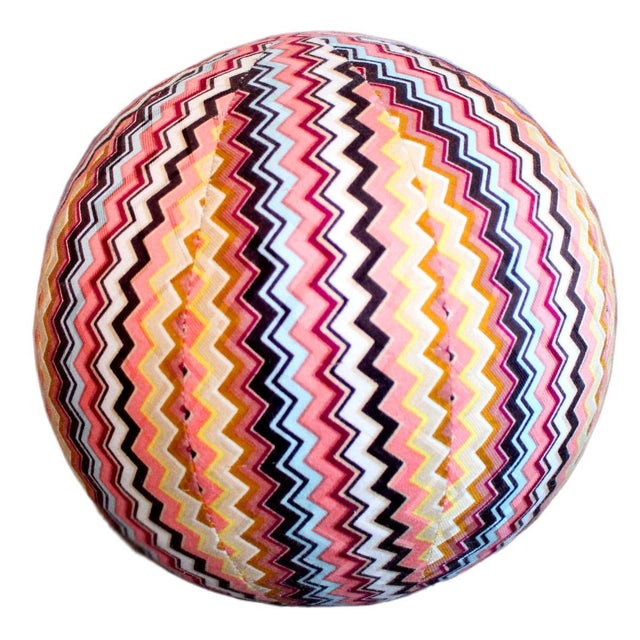 """Vintage Missoni Chevron Pattern Ball Pillow 8"""" For Sale In Los Angeles - Image 6 of 6"""