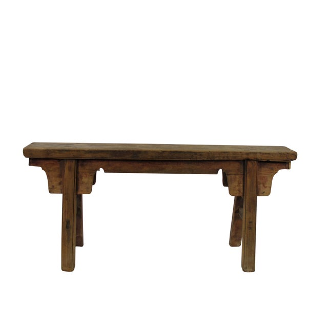 Made of solid elm wood, the color and wood of this rustic vintage bench is exact the same as it was found. It will be a...