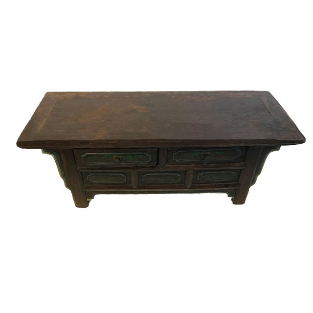 Superb Old Tibetan solid heavy wood low small altar table chest. It has a simple plain surface design with 2 drawers for...