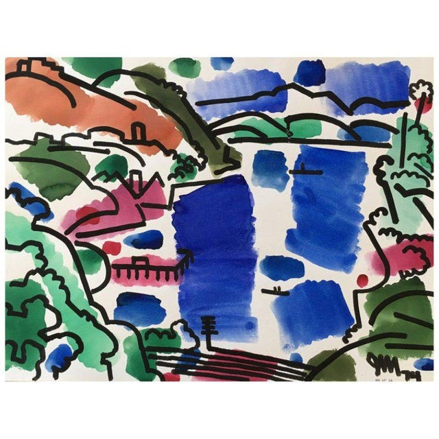 Blue Landscape Watercolor by James McCray #10 For Sale - Image 8 of 8