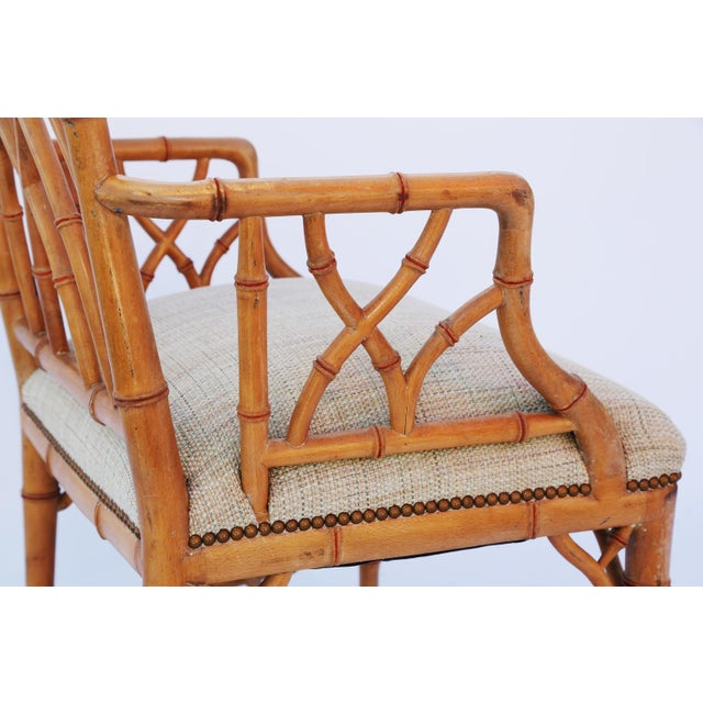 Wood Pair of Gothic Style Fretwork Faux Bamboo Armchairs For Sale - Image 7 of 7