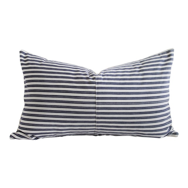 Vintage Navy Blue and White French Ticking Stripe Lumbar Pillow For Sale