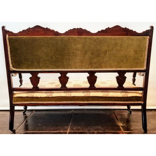 English Edwardian Adam Style Marquetry Salon Settee For Sale - Image 4 of 13