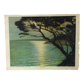 "Vintage Color Print on Paper, ""Moon Ripples"" by a Chabanian - 1926 For Sale"