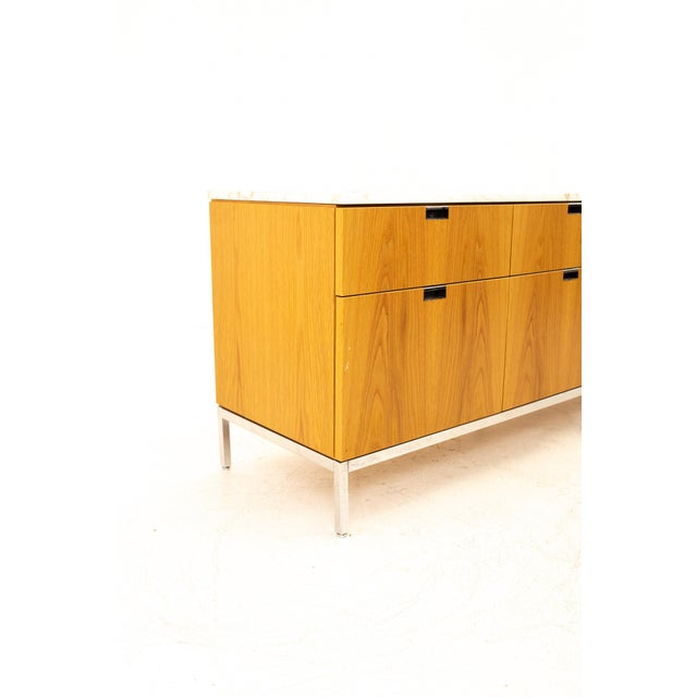 Mid 20th Century Florence Knoll Mid Century Modern White Marble Top Sideboard Credenza For Sale - Image 5 of 11