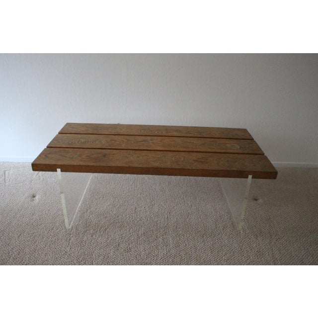 Mid-Century Wood & Acrylic Coffee Table For Sale - Image 9 of 10