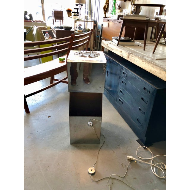 1970's Neal Small for Kovacs Lighted Chrome Pedestal With Sculptural Element For Sale In Charleston - Image 6 of 10
