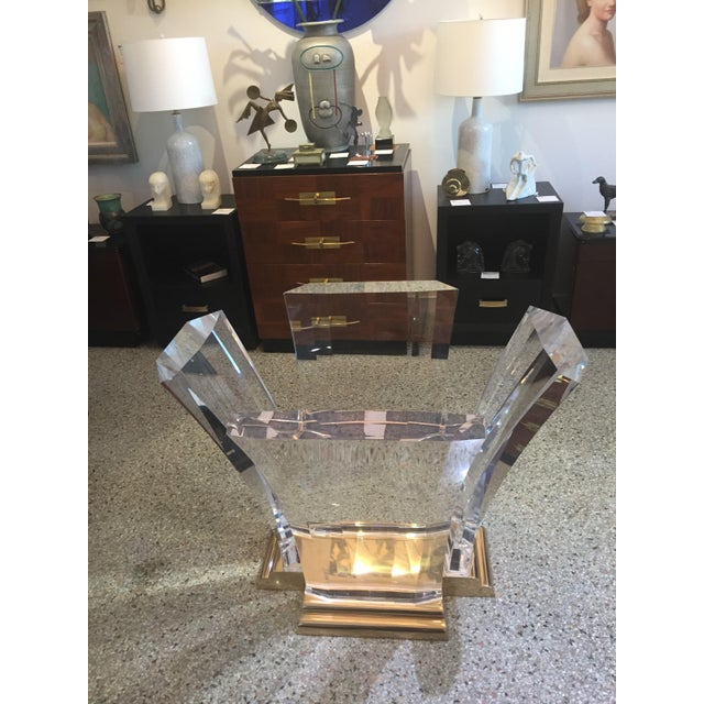 Bigelow Table Base in Lucite and Polished Brass 1980s For Sale In West Palm - Image 6 of 12