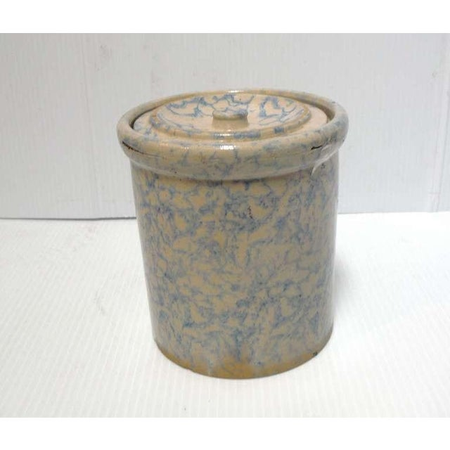 Rare and most unusual pottery sponge ware cookie jar with the original matching lid. This heavy pottery jar is in mint...