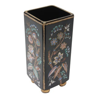 Chinoiserie Style Ebony Rectangular Ceramic Vase With Floral Decoration For Sale