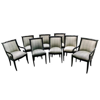 Contemporary Regency Style Black Lacquer Dining Chairs - 8 Available For Sale