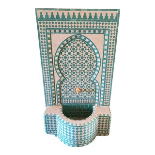 Aqua / White Moroccan Mosaic Fountain For Sale