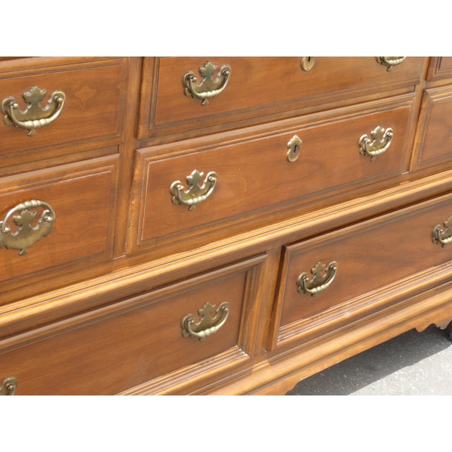 Vintage 1963 Kent Coffey French Provincial Cherry & Pecan Eight Drawer Dresser 1963 For Sale - Image 9 of 13