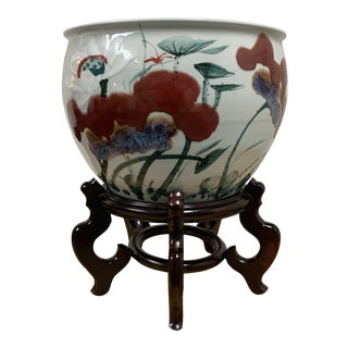 Japanese Ceramic Red + Purple Floral Plant Container + Rosewood Stand For Sale