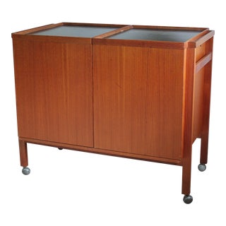 Mid Century Modern Teak Rolling Bar Cabinet For Sale