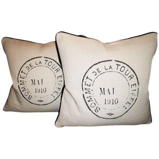 French Postal De La Tour Designer Pillows - a Pair