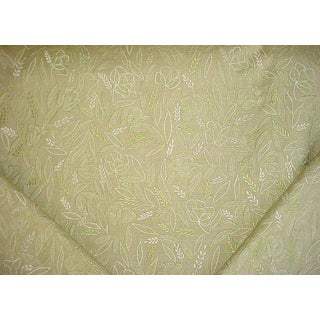 Traditional Kravet Couture 22100 Green Embroidered Floral Silk Upholstery Fabric - 7-1/4y For Sale