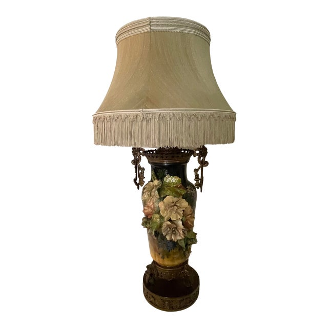 19th C. Over-Scale Lamp W/Dramatic 3-Dimensional Floral Details & Orientalist Bronze Mounts For Sale