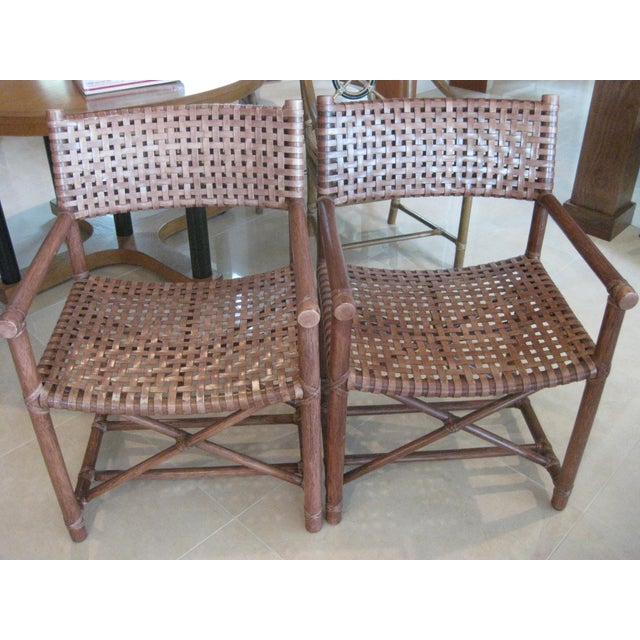 Cottage McGuire Leather Straps & Bamboo Chairs - a Pair For Sale - Image 3 of 5