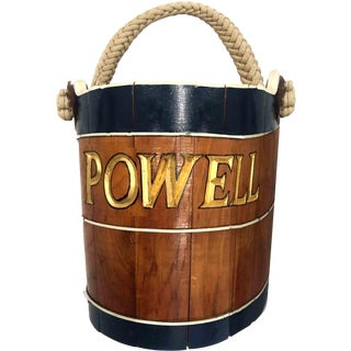 Rustic Handmade Nautical Wooden Bucket Powell For Sale