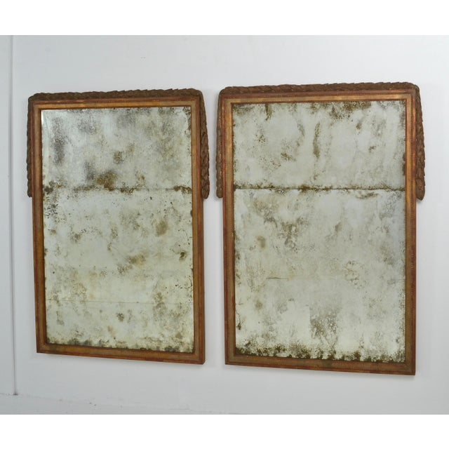 Mid-Century Modern Large Niermann Weeks Neoclassical Mirrors with Antiqued Glass - a Pair For Sale - Image 3 of 9