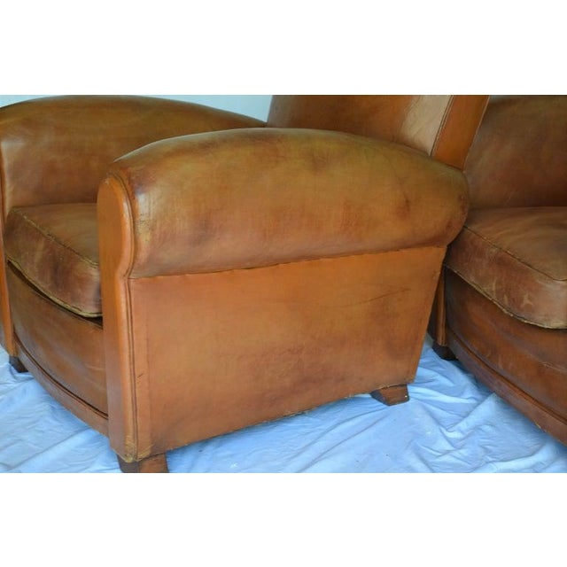 1930s Leather Moustache Leather Club Chairs - a Pair For Sale - Image 9 of 13