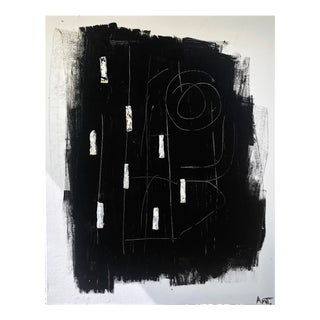 Abstract Black and White Clay Original Abstract Painting For Sale