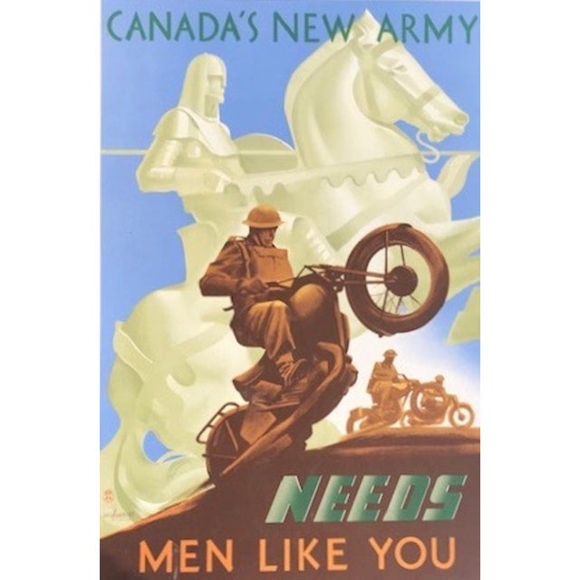 1940s Canadian Wwii Poster, Canada's New Army Needs Men Like You For Sale