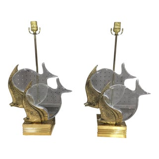 """Brass & Lucite """"Fish"""" Lamps - A Pair For Sale"""