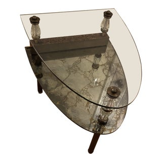 1950s Hollywood Regency 2 -Tier Brass & Glass Side Table For Sale