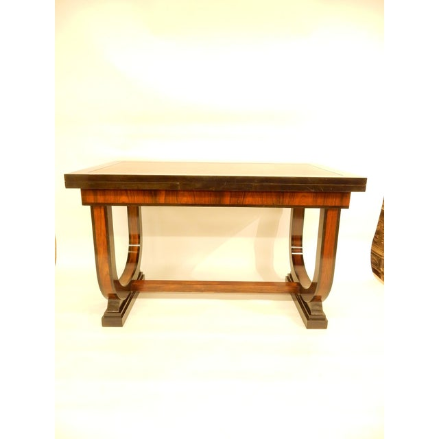 Art Deco Leather Top Table With Extensions For Sale - Image 11 of 11