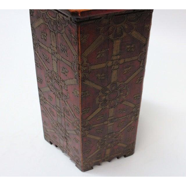 Vintage Hand Painted Tibetan Octagonal Side Table - Image 5 of 6