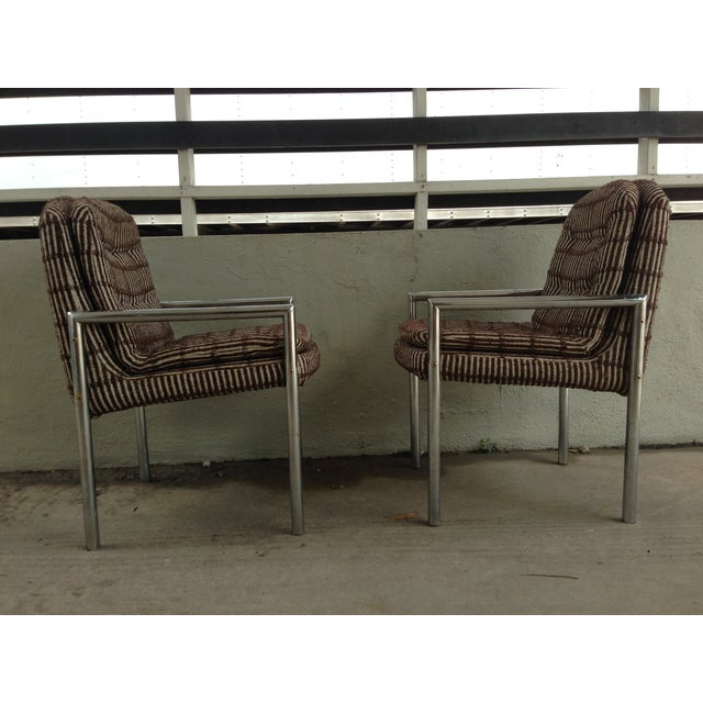 1970s Chrome Upholstered Armchairs - a Pair For Sale - Image 5 of 10