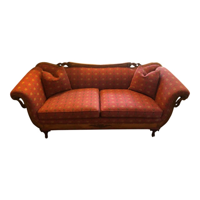 Antique Red Elephant Upholstered American Sofa For Sale