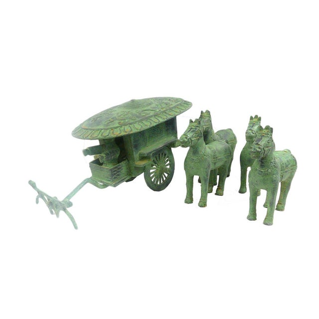 Asian Ancient Style Chinese Green Bronze-Ware Warrior Horse Wagon Display For Sale - Image 3 of 6