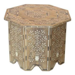 Moroccan Inspired Bone Inlay Side Table For Sale